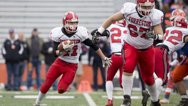 Forreston's AJ Christensen (41) runs the ball against St. Teresa on Friday, Nov. 25, 2016, during the Class 1A state championship game at the University of Illinois' Memorial Stadium in Champaign.