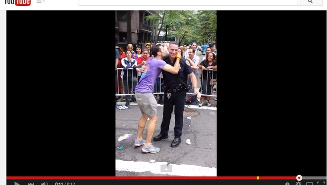 A New York City police officer became a viral sensation after he was caught on camera breaking it down during the city's Gay pride parade on Sunday.