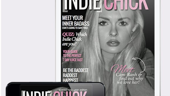 Indie Chick magazine, a digital self-empowerment magazine for women, is available in tablet and mobile versions. (Image from theindiechicks.com)