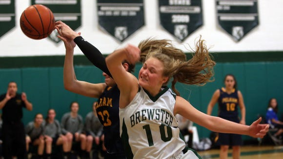 Brewster defeated Pelham 51-41 in a girls basketball playoff game at Brewster High School Feb 16, 2016.