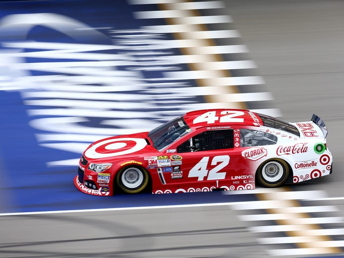 Kyle Larson, driver of the #42 Target Chevrolet, drives