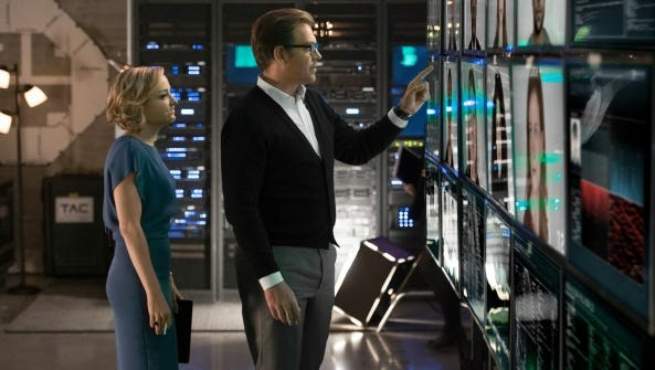 "Geneva Carr (left) and Michael Weatherly star in ""Bull"" on CBS."