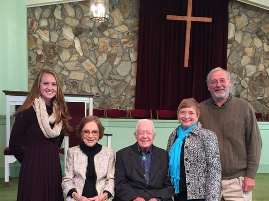 Special visit While on a retreat in Georgia, some Evansville participants had the opportunity to attend Sunday services at the Maranatha Baptist Church in Plains, Georgia, that included Sunday School with President Jimmy Carter. From left are Evansville native Lee Jerstad, who now works at the international headquarters of Habitat for Humanity in Americus, Georgia, Rosalyn and Jimmy Carter (seated) and longtime Evansville residents, Jane and Paul Leingang.
