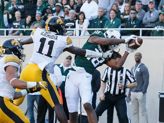 Michigan State receiver Felton Davis caught nine passes