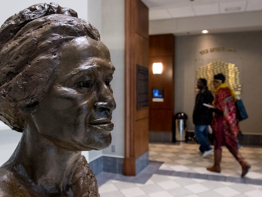 People visit the Rosa Parks Museum in Montgomery, Ala.