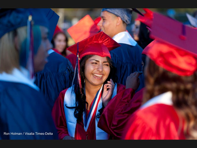 Graduates prepare for Tulare Western High School's 2014 Commencement on Wednesday, June 4, 2014.