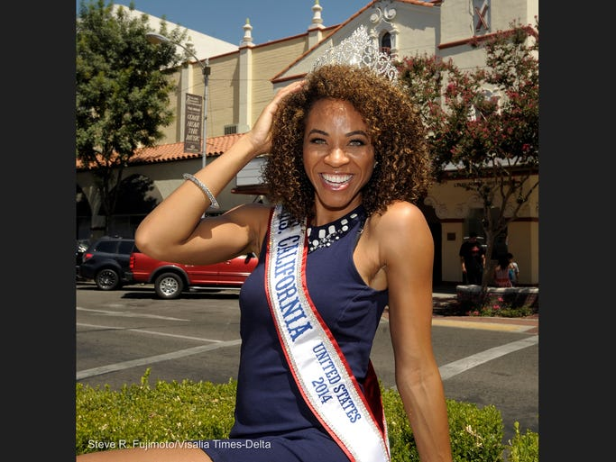 Mrs. California, Chantea McIntyre, pictured, will compete in the Mrs. United States pageant in Las Vegas. Chantea was crowned Miss Tulare County in 2005. Chantea is pictured in downtown Visalia.