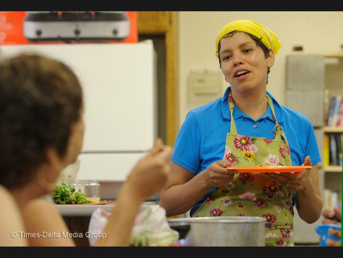 """Sarah Ramirez, 40, teaches how to make meals quickly and on a budget during a monthly cooking series called """"La Cocina con Sabor"""" in Pixley, her hometown. This class was for students going away to college but was attended by people of all ages. She has recently been named executive director at FoodLink for Tulare County."""