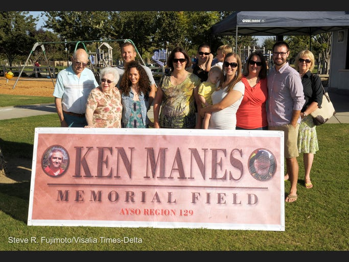 Ken Manes was a long-time volunteer with Visalia American Youth Soccer Organization. He died in January. AYSO remembered the former coach and head commissioner Saturday at its opening day event at Riverway Sports Park with a dedication. Ken's family was there to help unveil a sign.