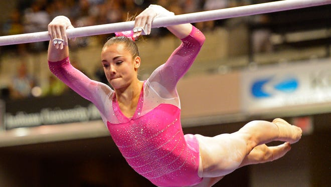 Maggie Nichols competes on the uneven bars the P&G gymnastics championships at Bankers Life Fieldhouse.