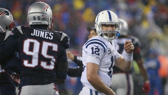 Colts quarterback Andrew Luck has a smile for Patriots