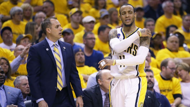Indiana Pacers guard Monta Ellis (11) reacts to being called for a foul during the second half of game 6 in an NBA basketball playoff game, Friday, April 29, 2016, at Bankers Life Fieldhouse.