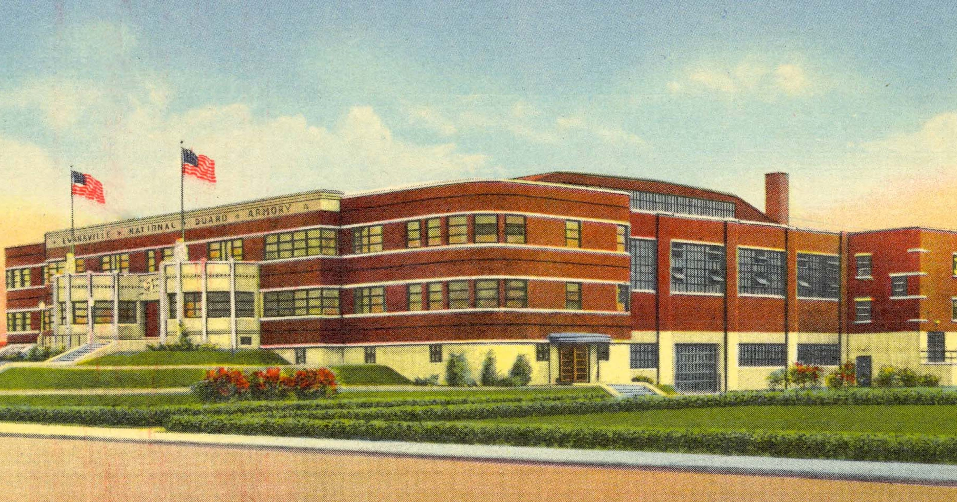 Evansville, Indiana National Guard Armory Postcard Posted