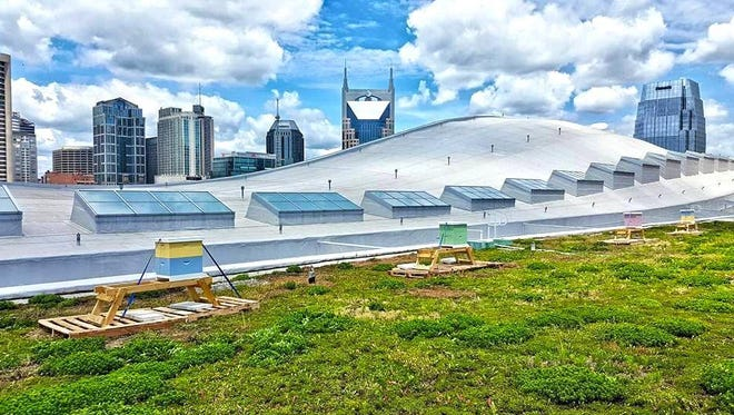 Submitted Music City Center?s green roof is supporting a bee population that was predicted to reach 600,000. Music City Center's green roof will now support a steadily growing bee population — 100,000 bees to start with predicted growth reaching 600,000.