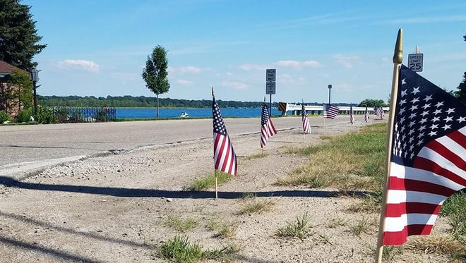 Marysville resident John Knuth, with the help of neighbors, organized a mile-plus stretch of flags along River Road to mark the national holiday Tuesday, July 4, 2017. It was the second time after Memorial Day, and something he hopes to continue on Labor Day.