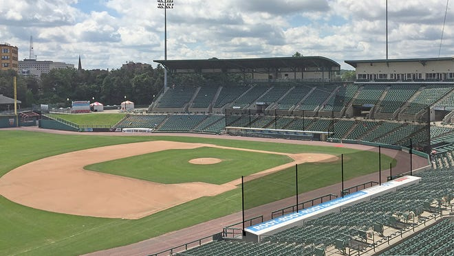 A rendering of the what the safety netting at Frontier Field will look like when it's extended to end of dugouts.