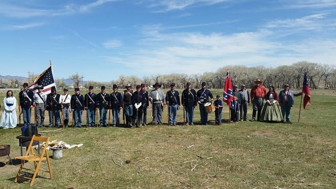 Nevada Civil War Volunteers line up in preparation during their first exercise of the year. The group begins its season of reenactments with its 2015 Tactical March.