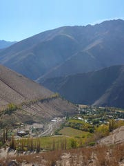View over the vineyards of the Elqui Valley, Chile.