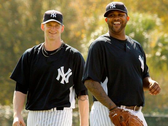 Yankees pitchers A.J. Burnett and CC Sabathia share
