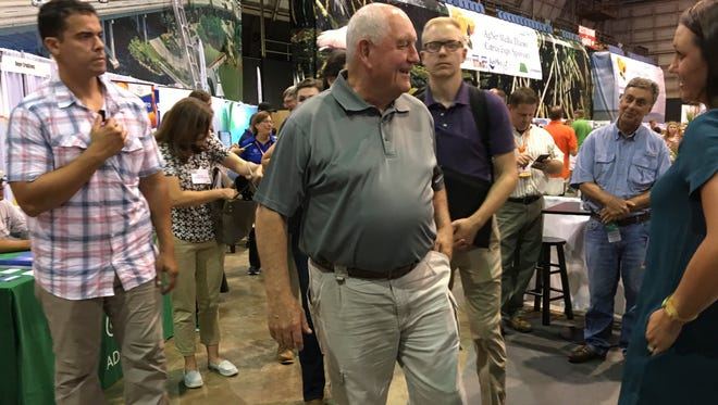 U.S. Secretary of Agriculture Sonny Perdue meets people attending the Citrus Expo Wednesday in North Fort Myers