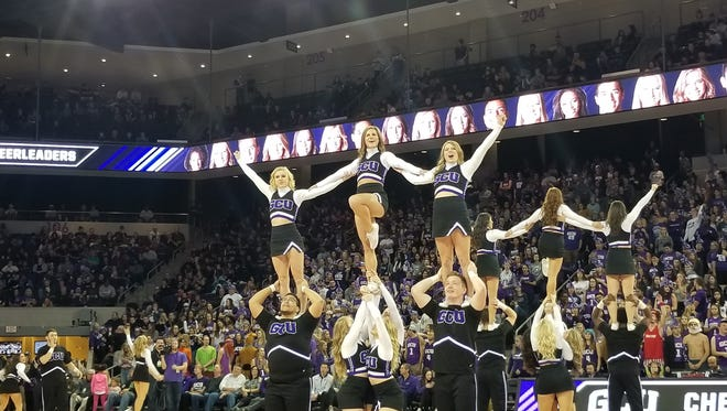 GCU cheerleaders perform on Jan. 23, 2018