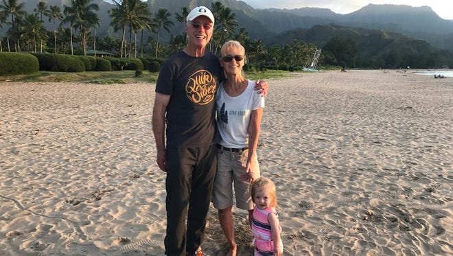 John and Maggie Moffatt and their granddaughter Harper enjoy a day on the Oregon coast.
