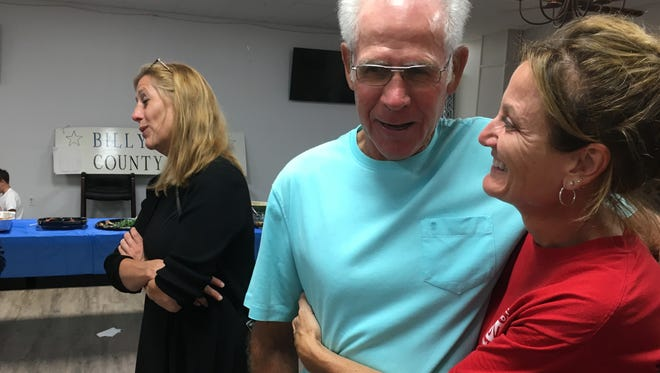 Robertson County Clerk-elect Angie Holt Groves gets well-wishes and congratulations from supporters on Election night.