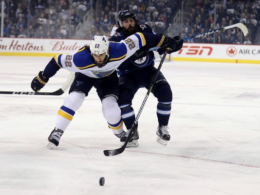 St. Louis Blues' Chris Thorburn (22) and Winnipeg Jets' Mathieu Perreault (85) battle for the puck during first-period NHL hockey game action in Winnipeg, Manitoba, Sunday, Dec. 17, 2017. (Trevor Hagan/The Canadian Press via AP)