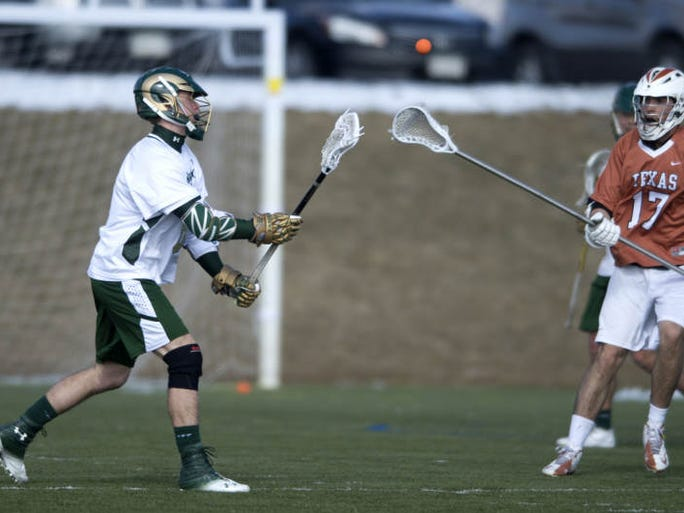 Alex Creech plays for CSU during a club lacrosse game against the University of Texas at Loveland Sports Park Sunday, March 2, 2014. CSU beat Texas 4-3.