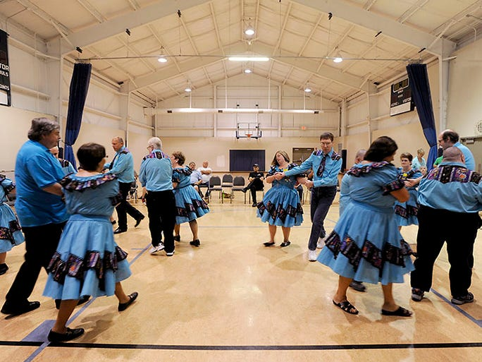 Members of the Happy Squares held one last dance rehearsal on Thursday at First Church of God before going to the U.S. Handicapable Square Dance Association'??s biennial convention in St. Louis next week.