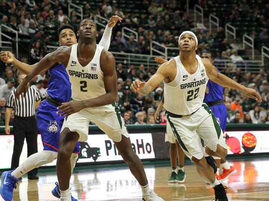 Former MSU stars Miles Bridges, right, and Jaren Jackson Jr., left, took part in the NBA Rising Stars game on Friday night in Chicago.