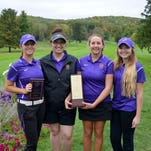 Elmira College's golf team took first place Tuesday at the Elmira College Fall Invitational  at Elmira Country Club.