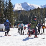 Racers take off from the starting line at the No Name Scramble at Teton Pass Ski Resort on Saturday. The No Name Scramble was the shortest of three randonee races held at the ski area.