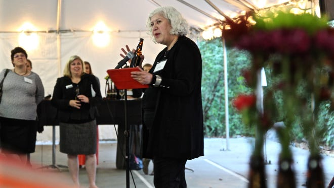 Irene Firmat, CEO and co-founder of Full Sail Brewing, speaks at the 7th Annual Celebrating Women in Business event on Thursday, Sept. 22 at the Historic Deepwood Estate.