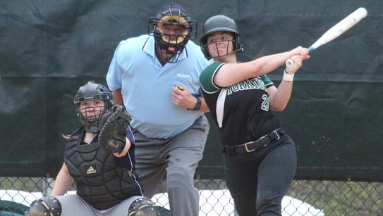 Yorktown's Brittany Giordano gets a hit during a game