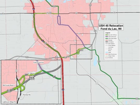 New US Route In Fond Du Lac County Unveiled - Us route 45 map