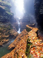 Watkins Glen State Park offers spectacular views of fall foliage along its 1.5-mile gorge and 19 waterfalls.