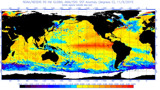 A satellite image of El Niño's impact on ocean temperatures as of Nov. 9, 2015.