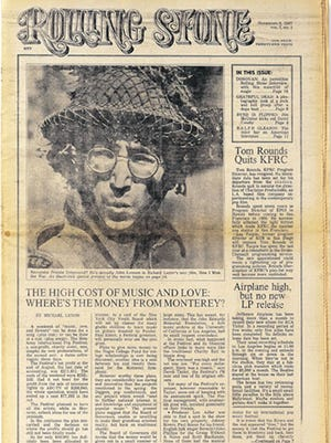 John Lennon graces the cover of of the first issue of Rolling Stone magazine, dated Nov. 9, 1967.