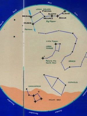 This star chart, adapted from pachamamatrust.org, shows and labels the stars of the Big Dipper. The chart is oriented to show the northern sky on a mid-spring evening, as seen from the mid-northern latitudes.
