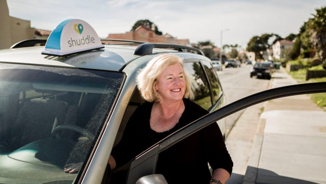 """I don't think I would drive for other services, mainly for my own safety,"" says Shuddle driver Sally Brien, 54, of San Francisco, a mother of four grown children who serves as a high school tennis team coach. ""Besides, I also like being able to plan my day around the rides."""
