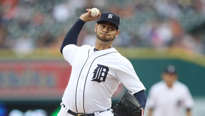 Tigers' Anibal Sanchez pitches against the Royals in the first inning Wednesday, July 26, 2017 at Comerica Park.