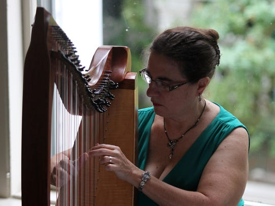 Harpist Laurel Grubehe plays at Silent Art Auction at the Frelinghuysen Mansion, where works from many internationally known artists and photographers were sold, all to benefit Calvin and Hobbes, the draft horses at Fosterfields Living Historical Farm.