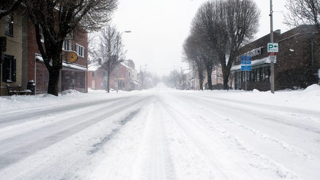 Baltimore Street sits eeriely empty,Tuesday, March 14, 2017. Winter Storm Stella dumped snow all across York and Adams counties, and the winter storm warning, and the winter storm warning is in effect until 10 p.m. Tuesday.