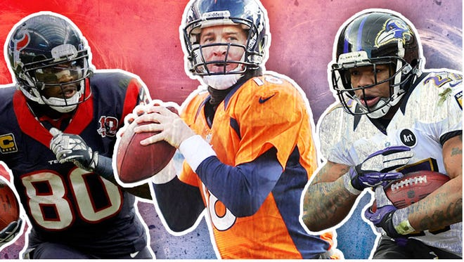 Andre Johnson, Peyton Manning and Ray Rice could be important cogs in many fantasy owners' lineups this season.