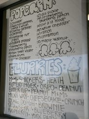 The popcorn and flurry menu is on display at Carl D's