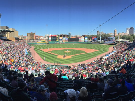 A picture perfect day, with temps in the mid 50's for the Red Wings home opener against Syracuse at sunny, and packed Frontier Field.