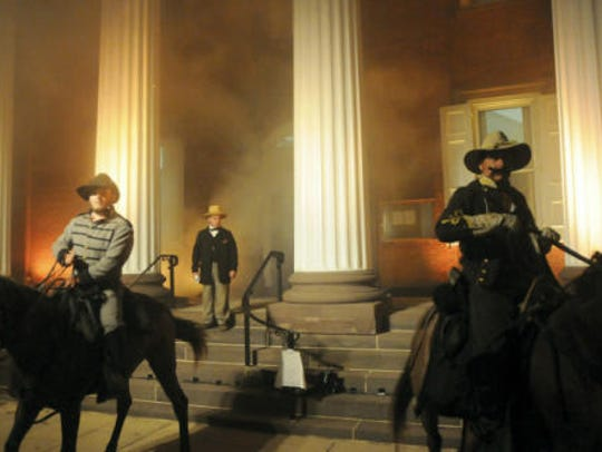 "Confederate re-enactors ""burn"" the county courthouse"