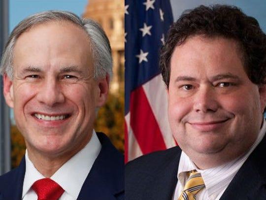 Gov. Greg Abbott, left, and former U.S. Rep. Blake