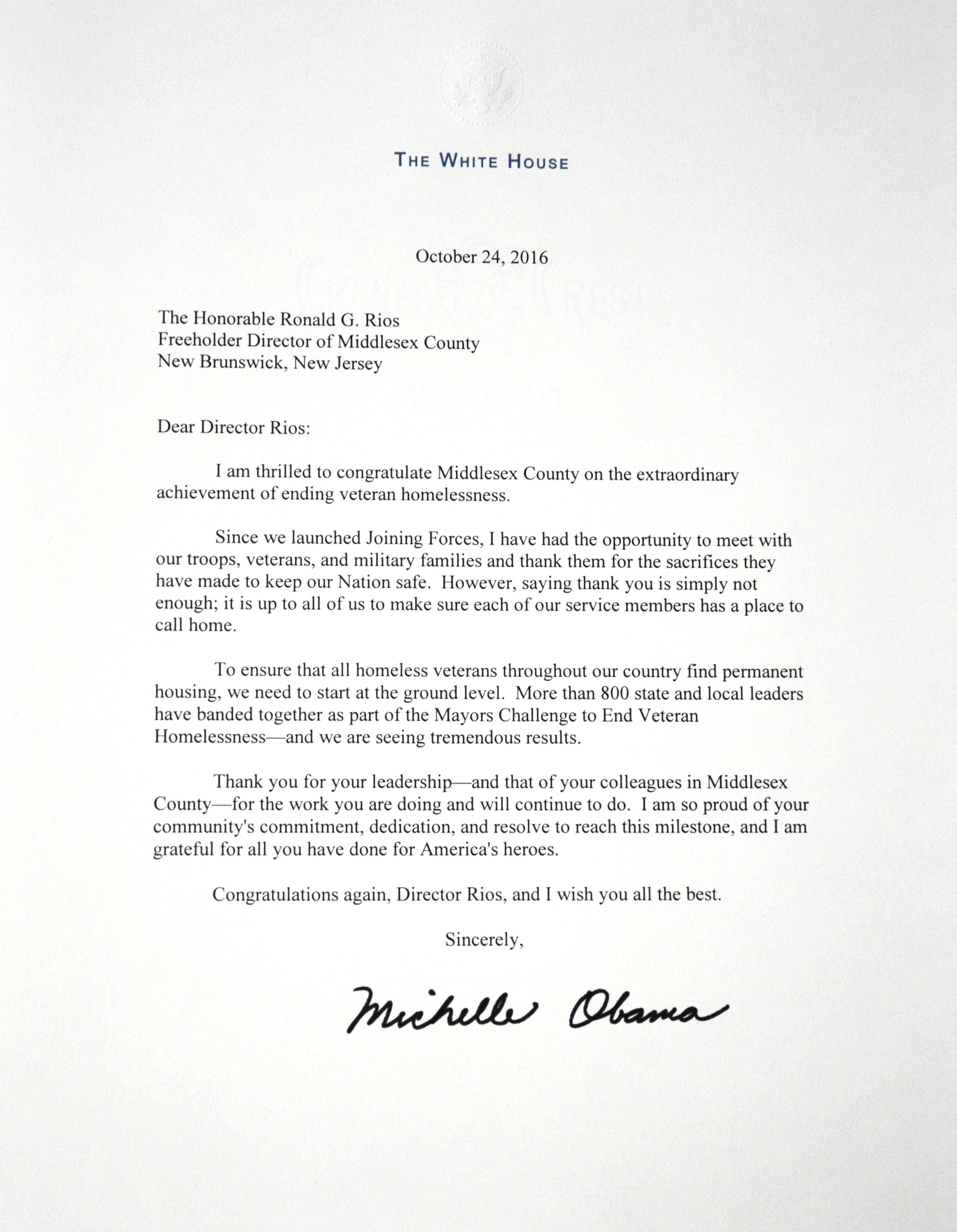 Michelle Obama Congratulates Middlesex County On Effectively Ending  Veteransu0027 Homelessness